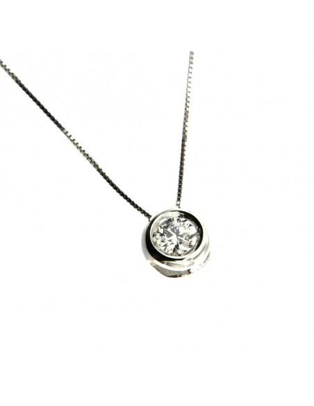 Punto Luce Cipollina collana con diamante in oro Bianco 18 carati.