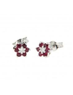 Orecchini a fiore di rubini e brillanti Karal in oro bianco 18 Kt.
