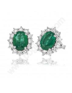 Orecchini Smeraldo e Diamanti in oro bianco 18 Kt Karal.