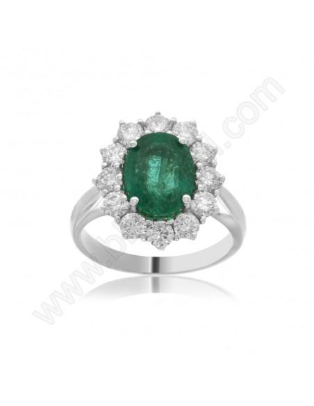 Anello Smeraldo e Diamanti in oro bianco 18 Kt Karal.