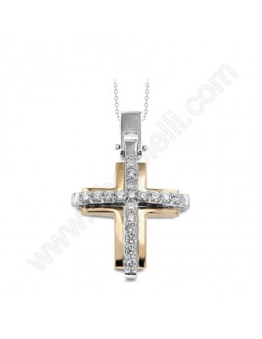 Croce Uomo in oro giallo 18 Kt. e diamanti Karal.