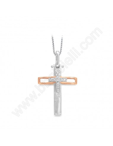 Croce da Uomo in Oro Bianco e Giallo con Diamanti Karal.