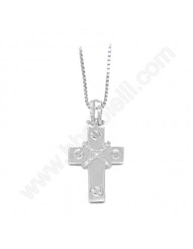 Croce Uomo in oro Bianco e diamanti Karal.