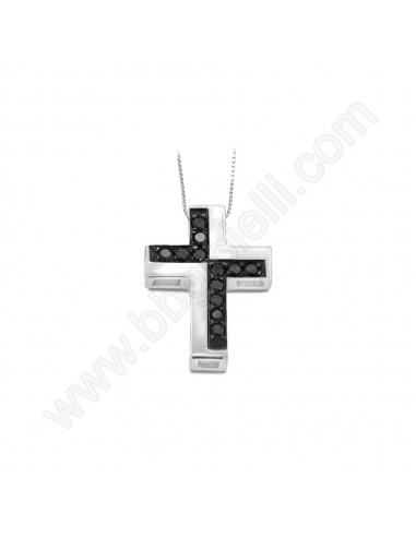 Croce da Uomo in Oro Bianco e Diamanti Neri Karal.