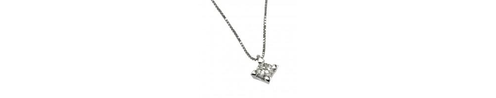 Collane Punto Luce in oro bianco 18 carati e diamante